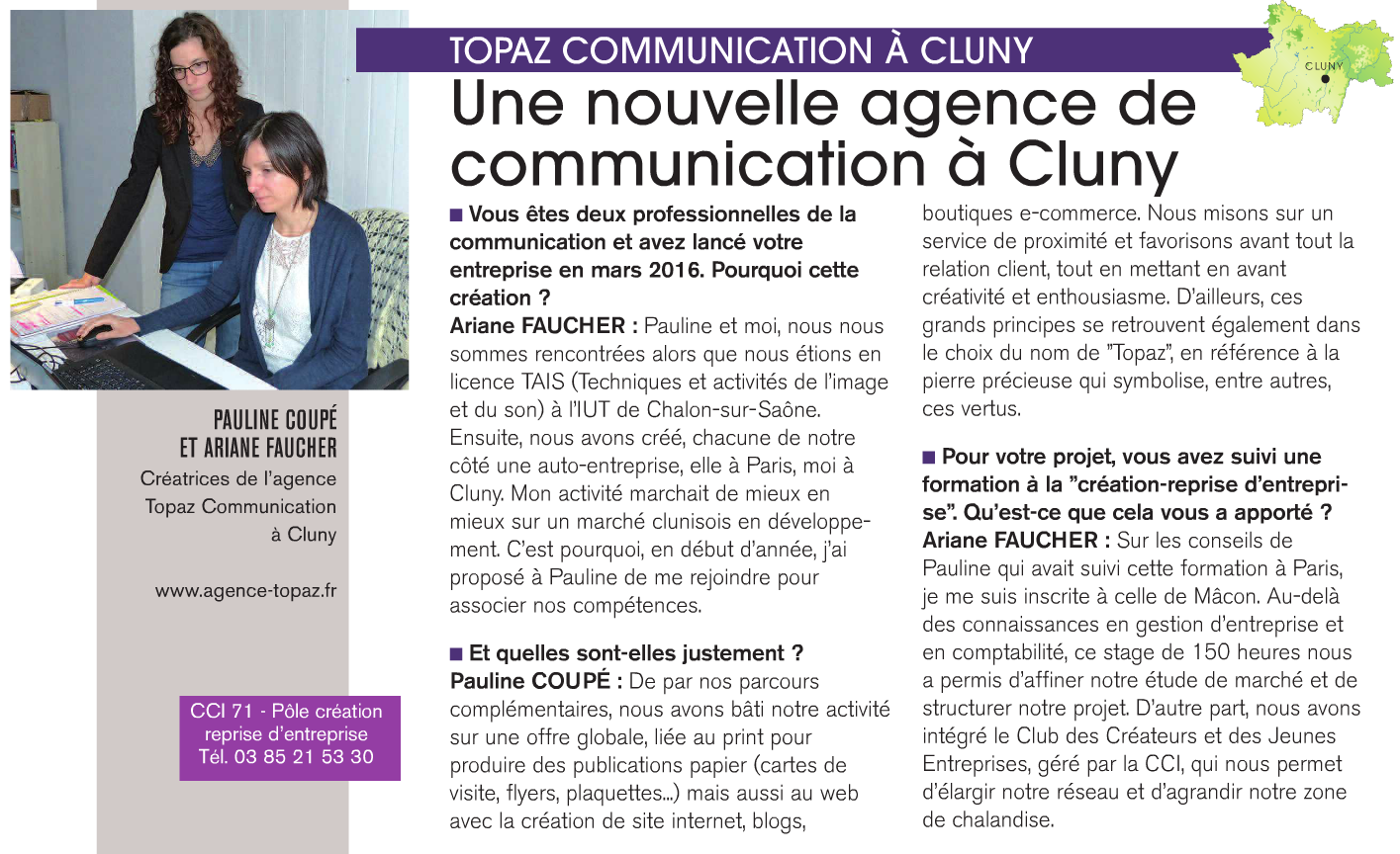 ActuEco presse article Agence Topaz Communication Cluny