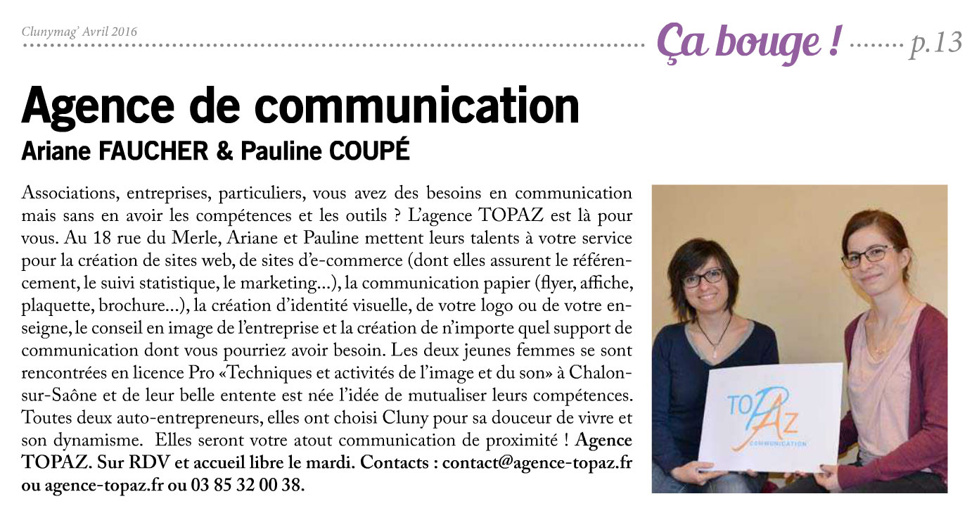 Article CLunyMag Agence Topaz Communication